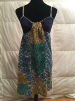 Anthropologie Lilka Women's Dress Multi-color Spaghetti Cotton Strap Size Small