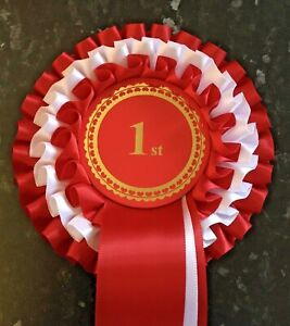 Individual Placing 3 Tier Rosettes, 68mm centre in quality single faced satin.