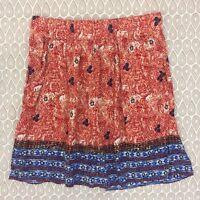 CAbi A-line Skirt Size Medium Women's Burnt Orange Red Floral 100% Rayon B87