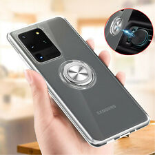 For Samsung Galaxy Note 20 Ultra Note 20 Clear Rubber TPU Ring Stand Case Cover
