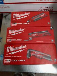 Milwaukee 2460-20 M12 Li-Ion Rotary Tool+2426-20 multi-tool+2415-20 angle drill