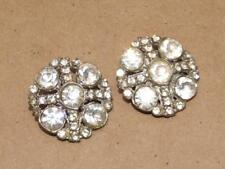 2 Vintage Foil Back Glass Rhinestone Criss Cross Buttons Coat Button Set 1 1/8""