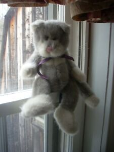 """Boyds Bears Wuzzies Cat """"Turner F. Wuzzie"""" -  Gray White And Pink 12"""" 1995-1998"""