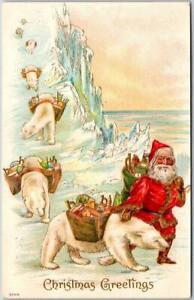 Vintage 1910 Christmas Embossed Postcard SANTA CLAUS with POLAR BEARS North Pole