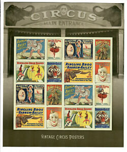 US Scott # 4905b, MINT / NH VINTAGE CIRCUS POSTERS Forever IMPERF SHEET! SCV $32