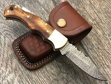 ASH DR6 Damascus steel custom handmade pocket folding knife