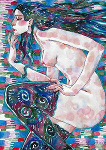 original painting A3 337RM art samovar watercolor modern female nude Signed 2021
