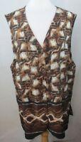 MAGGIE SWEET Plus Size Blouse Shirt Top, 2X, Animal Print, Sleeveless, E915