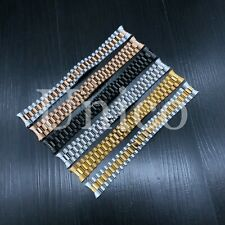 20 MM Men Steel Watch Band Clasp Bracelet Curved Fits Rolex Jubilee President