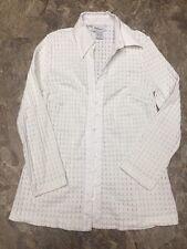 Mimi Maternity Sz S Slim Fit White Button Front 3/4 Sleeve Dress Shirt SemiSheer