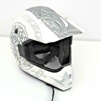Marushin Motorbike Motorcross Helmet. Size XL Adult. White & Silver. + Sun Visor