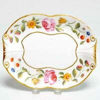ANTIQUE DRESDEN? PORCELAIN OVAL FLORAL DISH, SCROLLED ENDS