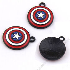 6pcs Small Pendants Black Shield Pendant Charms Dangle Jewelry Making P1007