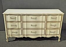 Vintage French Provincial DIXIE Off White & Gold Triple DRESSER Brass Hardware