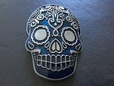 SKULL BELT BUCKLE Mexican TATTOO Blue & Silver SUGAR SKULL New Metal Tattooed