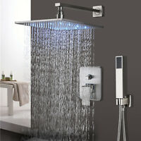Shower Faucet System  LED Square Rainfall With Hand Shower Mixer Brushed Nickel