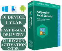 KASPERSKY TOTAL SECURITY 2020 - 10 PC 1 Year ANTIVIRUS KEY EMAILED For UK/EU