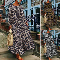 ZANZEA UK Women Long Sleeve Leopard Printed Casual Loose Kaftan Baggy Maxi Dress