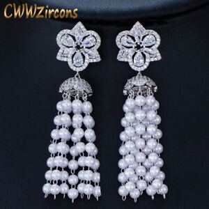 CWWZircons Simulated Pearl Clear CZ Flower Long Statement Tassel Drop Earrings