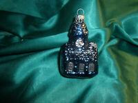 alte Christbaumkugel Glas Haus Kirche Kirchturm blau silber Weihnachtskugel ~