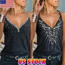 Women Summer Hot Drilling Cami Vest Tank Top Sleeveless Blouse T Shirt Racerback