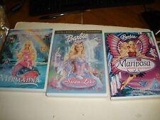lot of 3 Barbie DVD DVDs Mariposa, Mermaidia, & Swan Lake