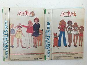LOT OF 2 Mccalls Care Free Patterns Annie Clothes Line Sz 12 Uncut Patterns Vtg