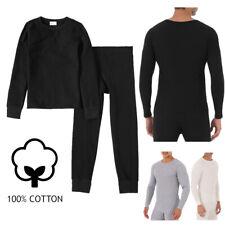 Men Waffle Knit 100% Cotton Thermal Long Johns Underwear Top & Bottom 2PCs Set