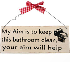 Funny Wooden Shabby Chic Wall Plaque Sign My Aim Keep Bathroom Clean 10 X 25 Cm