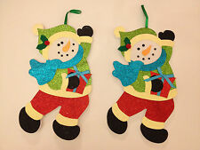 Pair of Matching Gorgeous Ex.Cond. Glittery Snowmen Polystyrene Xmas Hanging Dec