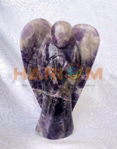 "5"" Amethyst Stone Angel Spirit Semi Precious Gemstone Handmade Statue Gifts G065"
