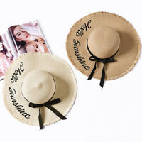 New Fedora Hat Wide Brim Straw Hat Women Cap Adjustable Floppy Foldable Sun Hats
