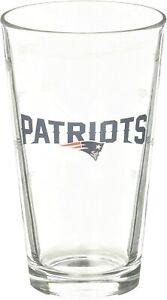 New England Patriots 16 oz Satin Etch Logo Pint Glass Set (2 Glasses)
