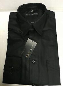 Geoffrey Beene Sateen Wrinkle free Long Sleeve Men's Black Shirt NWT