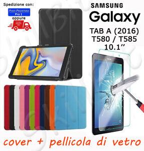 CUSTODIA STAND PELLE PER SAMSUNG GALAXY TABLET TAB A 2016 SM-T585 10.1'' + VETRO