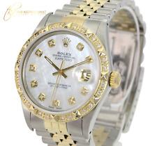 Rolex Mens Datejust White MOP Diamond  Dial 14K Gold Diamond Bezel 36mm  Watch