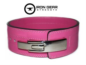 IRON GEAR STRENGTH Powerlifting 10mm Lever Weightlifting PINK Belt (SMALL)