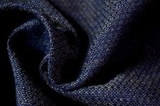 """Vintage Midnight Blue Canvas Tweed Fabric 55""""W Seat Upholstery Church Pew Auto"""