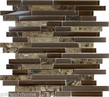 10SF- Brown Glass Natural Stone Linear Mosaic Tile Wall Kitchen Backsplash Sink