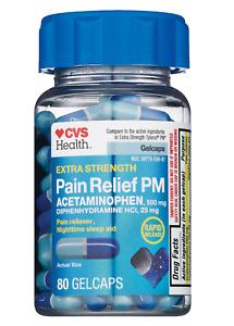 CVS Health Extra Strength PM Acetaminophen 500 mg Diphenhydramine HCl 25mg 80 CT