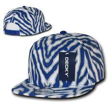 Royal Blue Zebra Animal Print Vintage Snap back Classic Flat Bill Hat Cap Hats