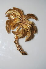 Vintage Large Gold Toned Metal Palm Tree Matte Brushed And Shiny Finish Pin