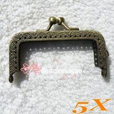 5X Antique Brass Mini Bag Purse metal Frame Kiss Clasp bags making Supplies 8CM