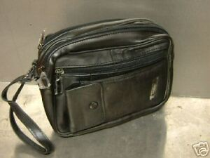 Mens Lorenz Man Bag Leather Black With Wrist Strap Taxi Meters