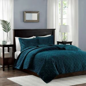 Chic 3pc Teal Velvety Soft Geometric Stitch Coverlet Quilt AND Decorative Shams