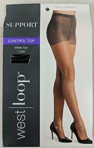West Loop Pantyhose Control Top Sheer Toe Jet Black Women's Size C New