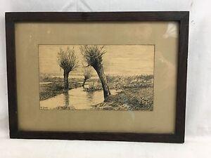 Orig. c1920's signed Roland Clark Pen & Ink Drawing Estuary Landscape Study
