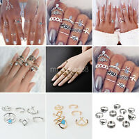 Vintage Silver & Gold Boho Knuckle Rings Jewelry Gift Midi Finger Ring Set New