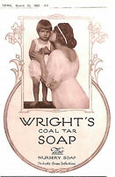 Wright's coal tar soap.1921.Charming.1920's.Advert.Nursery soap.Ad.Beauty.Art