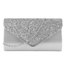 Women Glitter Evening Clutch Bag Ladies Wedding Party Handbag Prom Purse Chain